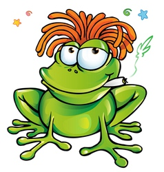 Rasta frog cartoon vector