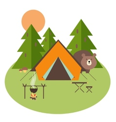 Forest camping vector