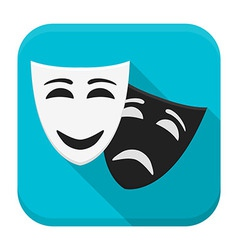 Drama mask app icon with long shadow vector