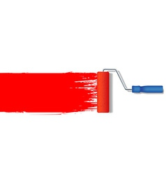 Realistic paint roller painting a red line vector