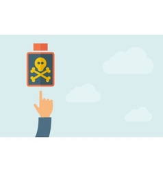 Hand pointing to a poisonous bottle icon vector