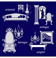 Set styles of interior design vector