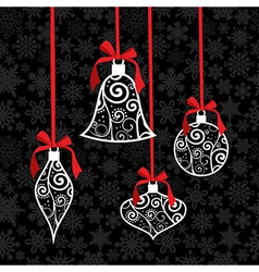Christmas bauble greeting card background vector