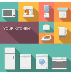 Set of kitchen appliances flat icons vector