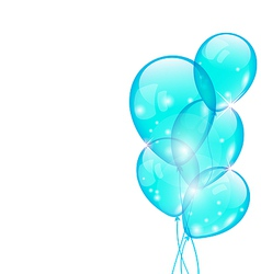 Flying blue balloons isolated on white background vector