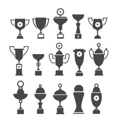 Icons set of silhouette sport award cups vector