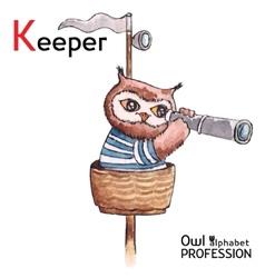 Alphabet professions owl letter k - keeper vector