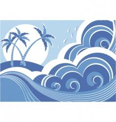 Seascape and island vector