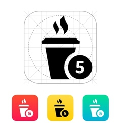 Coffe cup with number icon vector