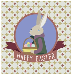 Happy easter design with grey rabbit vector