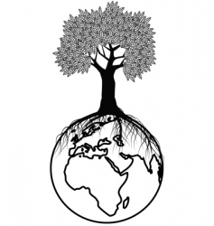 Tree silhouette on earth vector