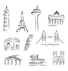 Famous buildings vector