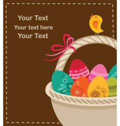 Easter eggs with basket vector