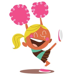 Yound blond of a smiling cheerleader cheering vector