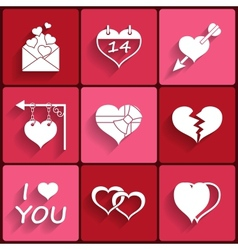 Set icons of valentines day red hearts signs vector