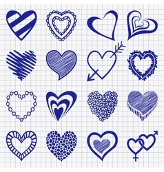 Hand drawn set of heart icons on a checkered paper vector