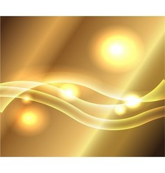 Waves of gold background with dotted light vector