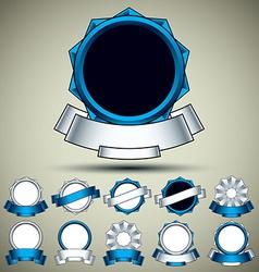 Vintage labels set blue vector
