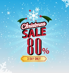 Christmas sale 80 percent typographic background vector