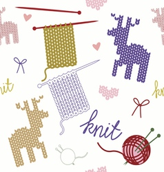Seamless pattern with knit heart and deer vector