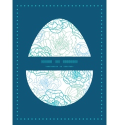 Blue line art flowers easter egg vector