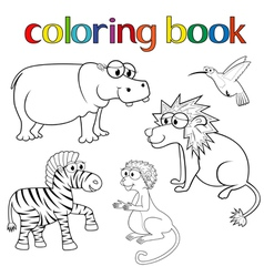 Kit of animals for coloring book vector