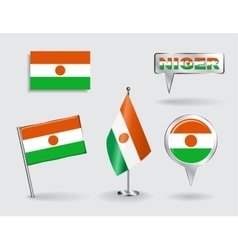 Set of niger pin icon and map pointer flags vector