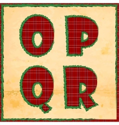 Christmas letters opqr vector