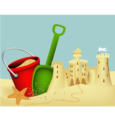 Sand castle building vector