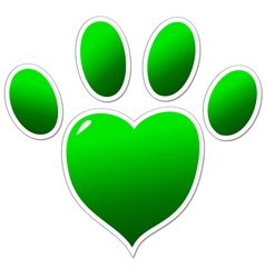 Green paw of an animal vector