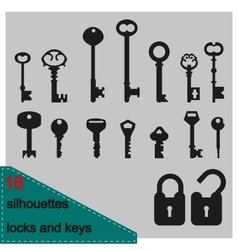 Silhouette of keys and locks vector