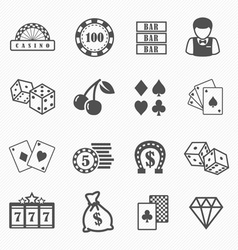 Casino and gambling icons set vector