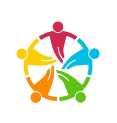 Teamwork holding their hands group of 5 people vector