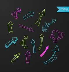 Colorful arrows set on dark background vector