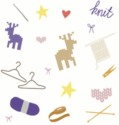 Seamless print with knit tools and patterns vector