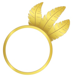 Gold frame ring with feathers vector