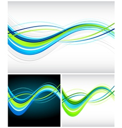 Blue and green flowing lines vector