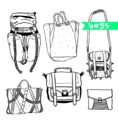 Black and white set with original bags vector