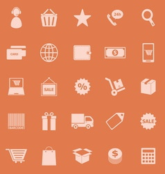 E commerce color icons on orange background vector