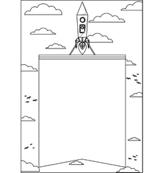 Rocket flying into space and lifting the banner vector