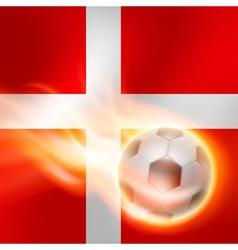 Burning football on denmark flag background vector