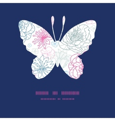Gray and pink lineart florals butterfly vector
