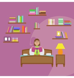 Girl reading book sitting on the bed vector