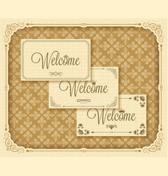 Vintage frame welcome vector