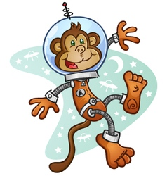 Space monkey cartoon character vector