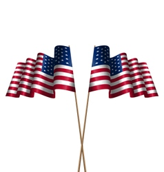 Two flags usa waving wind vector