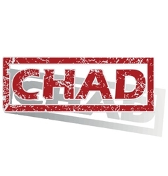 Chad outlined stamp vector