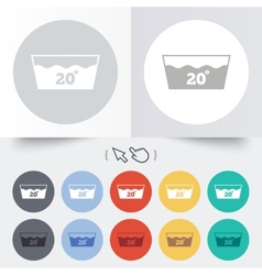 Wash icon machine washable at 20 degrees symbol vector