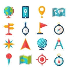 Cartography flat icon set vector