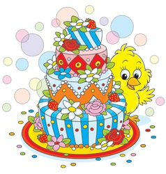 Little chick with a cake vector